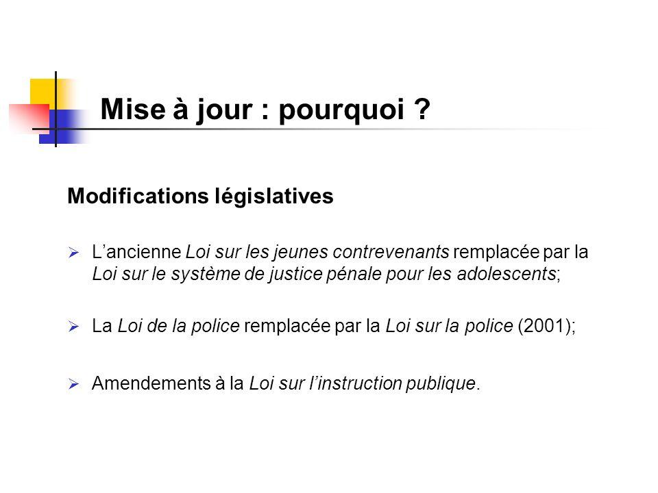 Mise à jour : pourquoi ? Modifications législatives Lancienne Loi sur les jeunes contrevenants remplacée par la Loi sur le système de justice pénale p