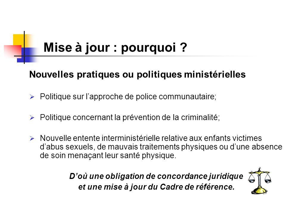 Nouvelles pratiques ou politiques ministérielles Politique sur lapproche de police communautaire; Politique concernant la prévention de la criminalité