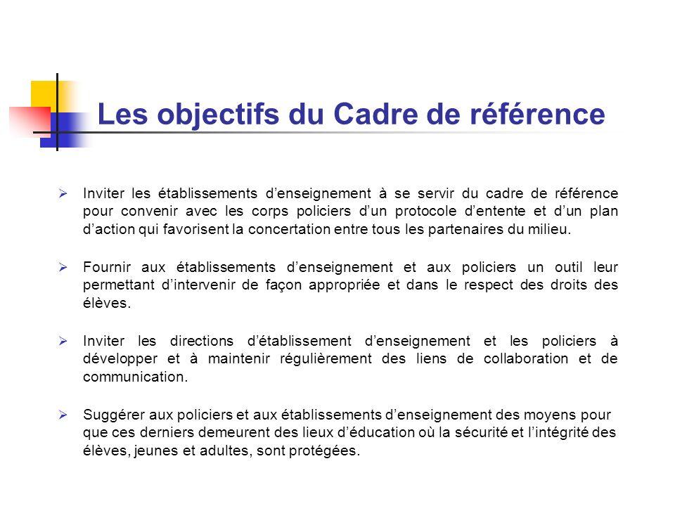 Les objectifs du Cadre de référence Inviter les établissements denseignement à se servir du cadre de référence pour convenir avec les corps policiers