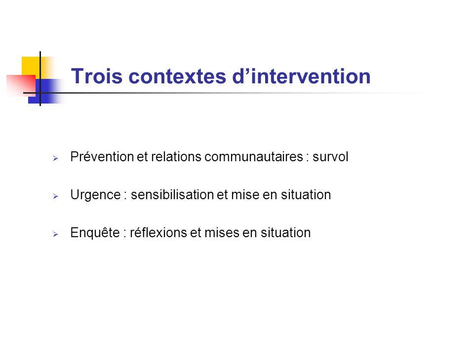 Trois contextes dintervention Prévention et relations communautaires : survol Urgence : sensibilisation et mise en situation Enquête : réflexions et m