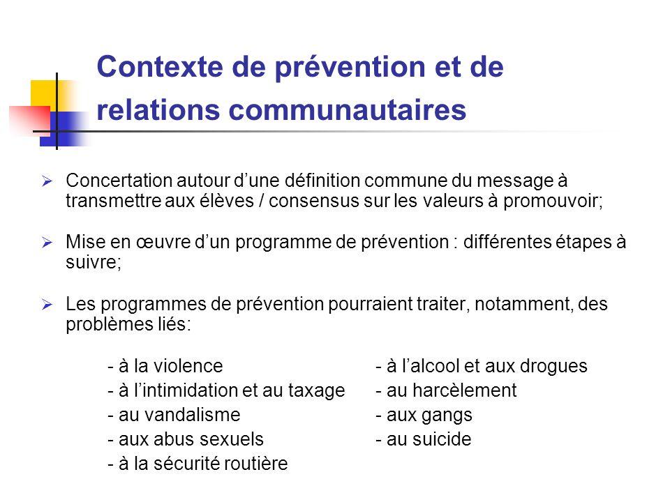 Concertation autour dune définition commune du message à transmettre aux élèves / consensus sur les valeurs à promouvoir; Mise en œuvre dun programme