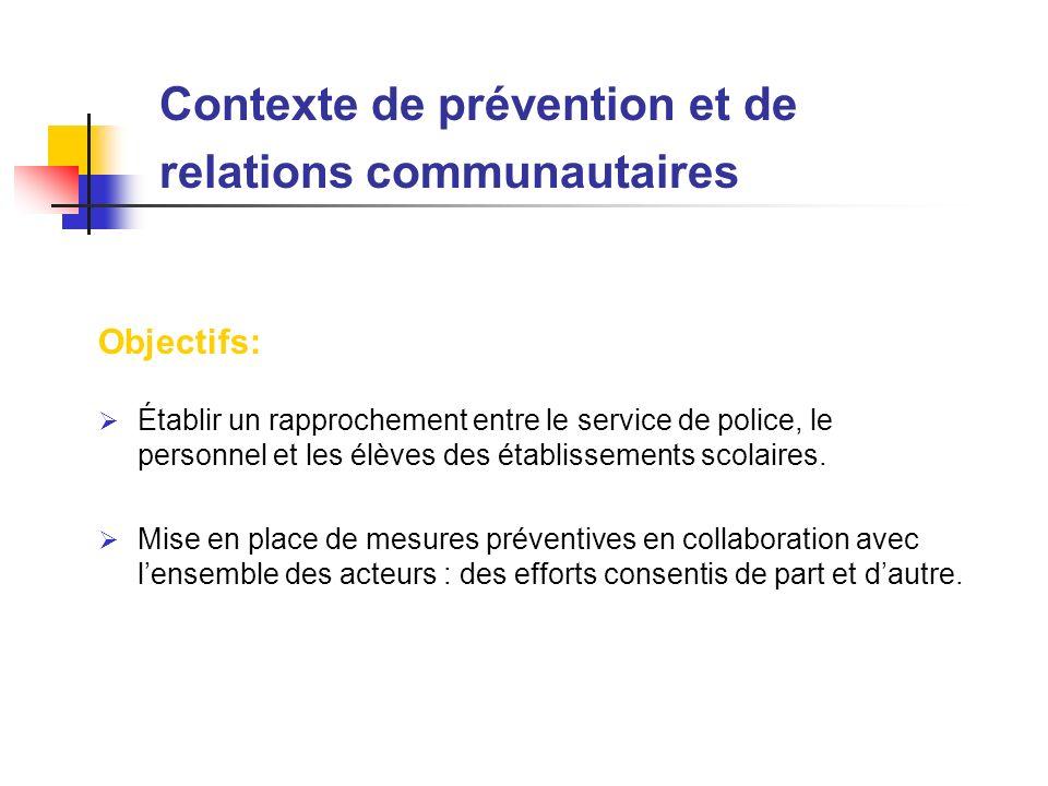 Objectifs: Établir un rapprochement entre le service de police, le personnel et les élèves des établissements scolaires. Mise en place de mesures prév