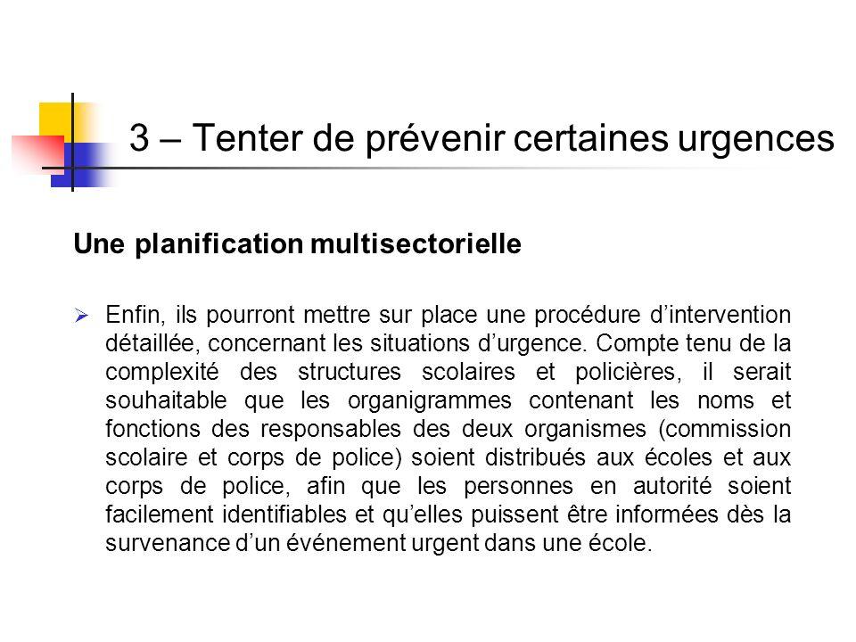 3 – Tenter de prévenir certaines urgences Une planification multisectorielle Enfin, ils pourront mettre sur place une procédure dintervention détaillé