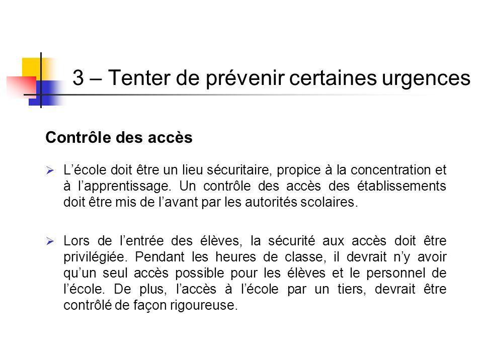 Contrôle des accès Lécole doit être un lieu sécuritaire, propice à la concentration et à lapprentissage. Un contrôle des accès des établissements doit