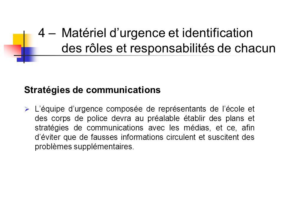 Stratégies de communications Léquipe durgence composée de représentants de lécole et des corps de police devra au préalable établir des plans et strat