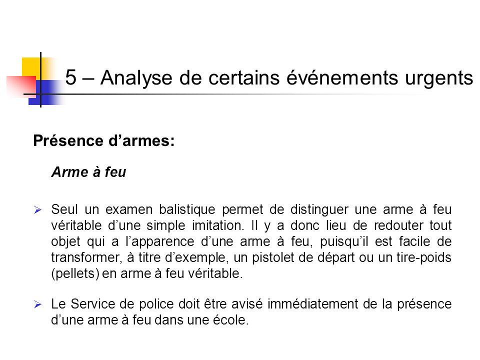 Présence darmes: Arme à feu Seul un examen balistique permet de distinguer une arme à feu véritable dune simple imitation. Il y a donc lieu de redoute
