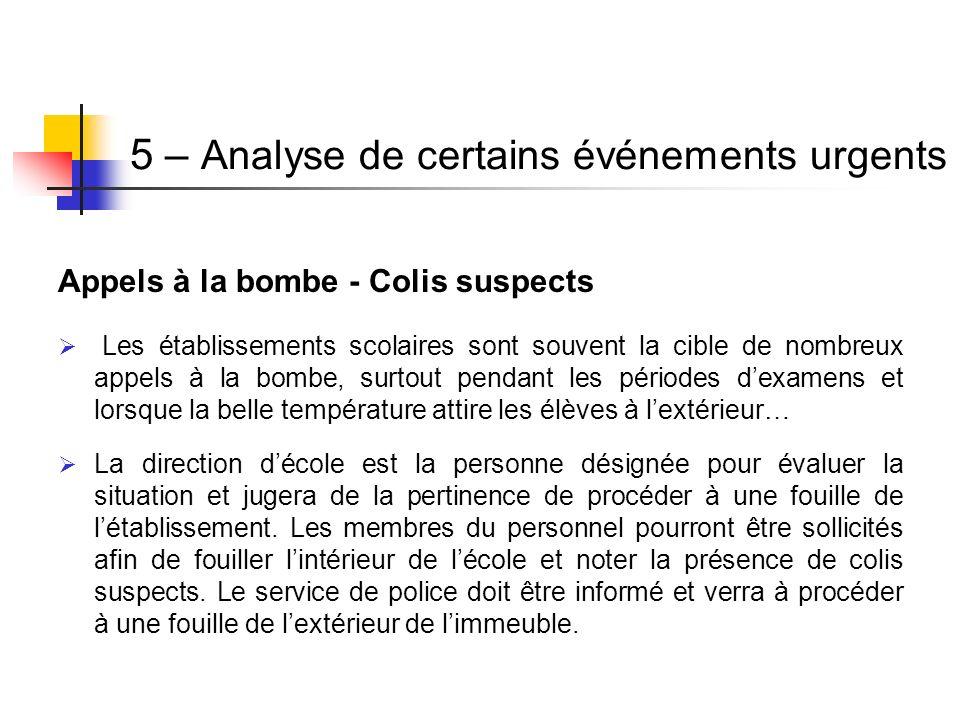 Appels à la bombe - Colis suspects Les établissements scolaires sont souvent la cible de nombreux appels à la bombe, surtout pendant les périodes dexa