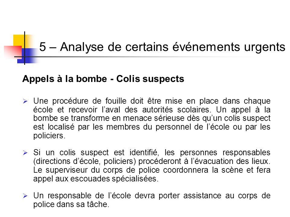 Appels à la bombe - Colis suspects Une procédure de fouille doit être mise en place dans chaque école et recevoir laval des autorités scolaires. Un ap