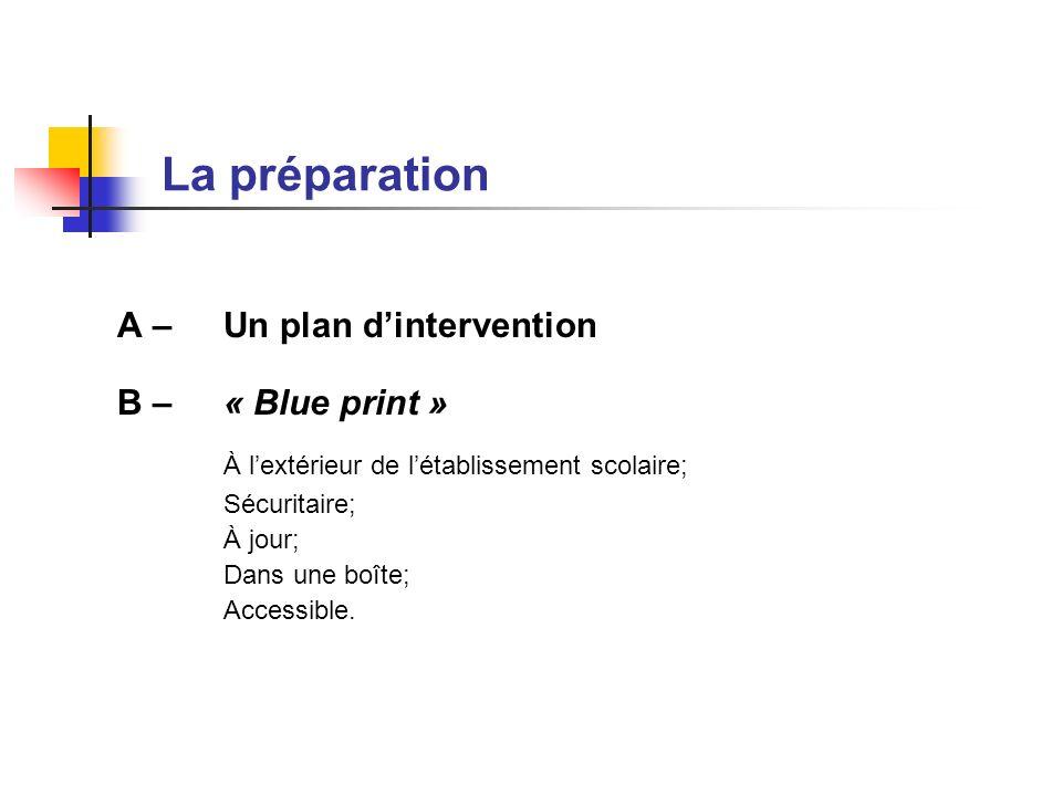 La préparation A – Un plan dintervention B – « Blue print » À lextérieur de létablissement scolaire; Sécuritaire; À jour; Dans une boîte; Accessible.