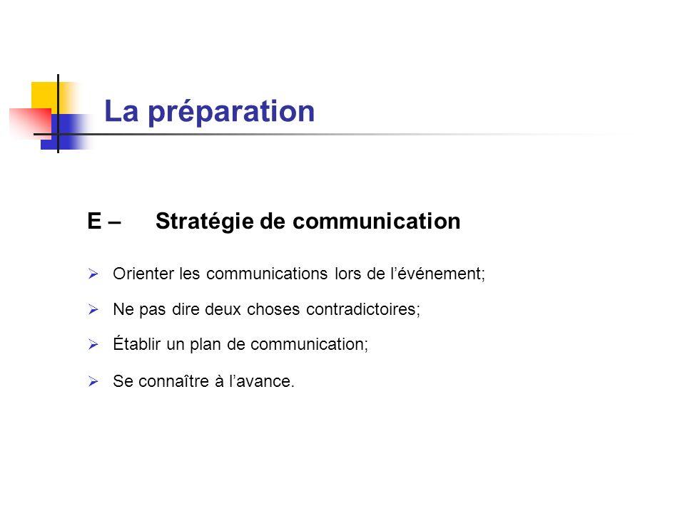 E – Stratégie de communication Orienter les communications lors de lévénement; Ne pas dire deux choses contradictoires; Établir un plan de communicati