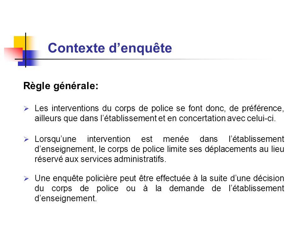 Règle générale: Les interventions du corps de police se font donc, de préférence, ailleurs que dans létablissement et en concertation avec celui-ci. L