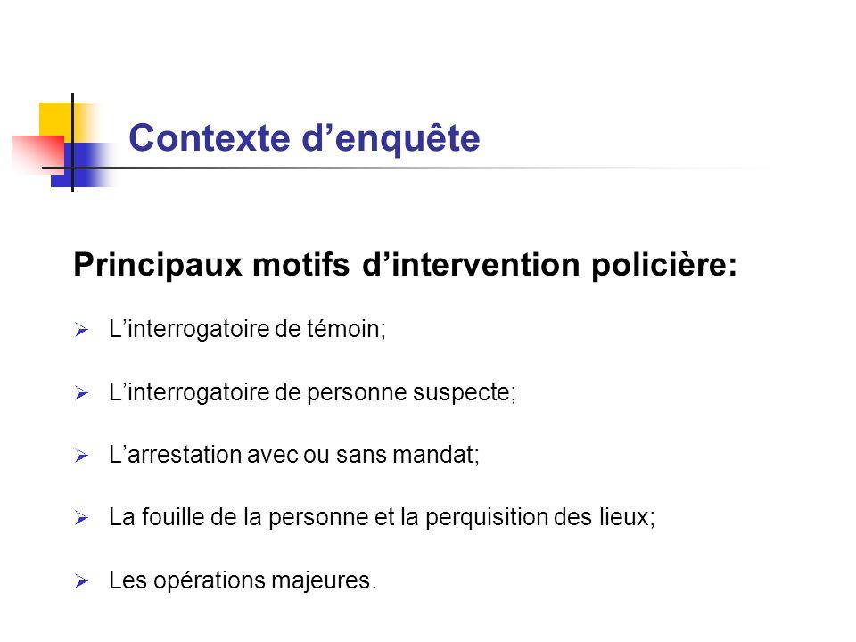 Principaux motifs dintervention policière: Linterrogatoire de témoin; Linterrogatoire de personne suspecte; Larrestation avec ou sans mandat; La fouil