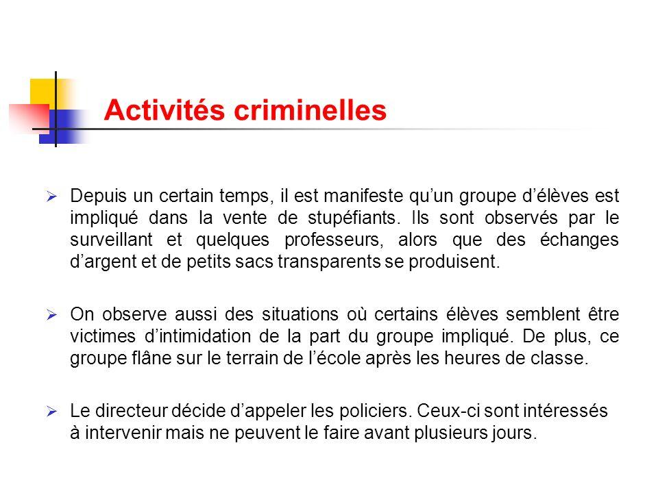 Activités criminelles Depuis un certain temps, il est manifeste quun groupe délèves est impliqué dans la vente de stupéfiants. Ils sont observés par l