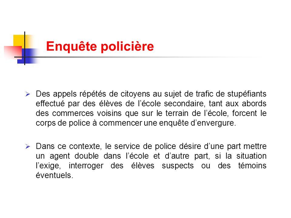 Enquête policière Des appels répétés de citoyens au sujet de trafic de stupéfiants effectué par des élèves de lécole secondaire, tant aux abords des c