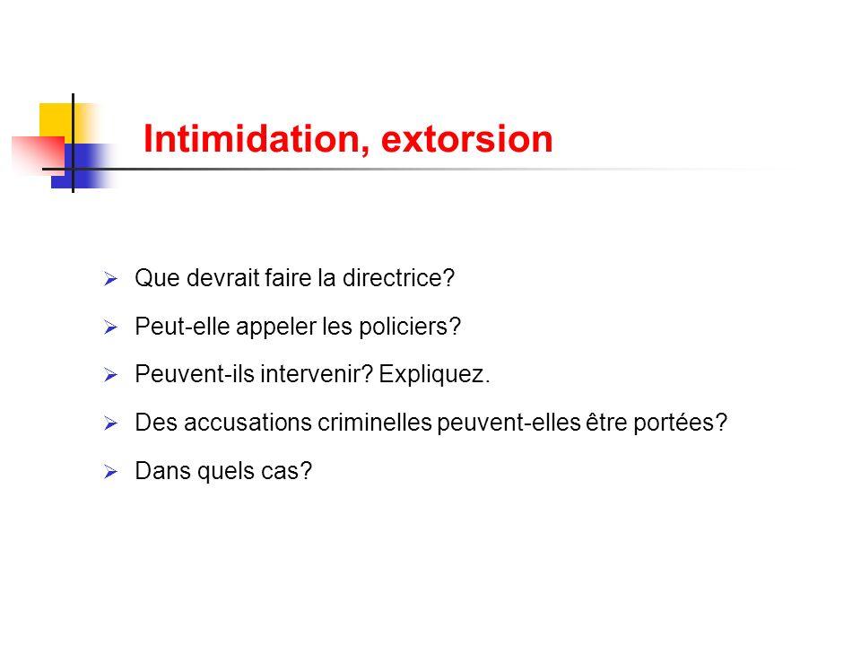 Intimidation, extorsion Que devrait faire la directrice? Peut-elle appeler les policiers? Peuvent-ils intervenir? Expliquez. Des accusations criminell