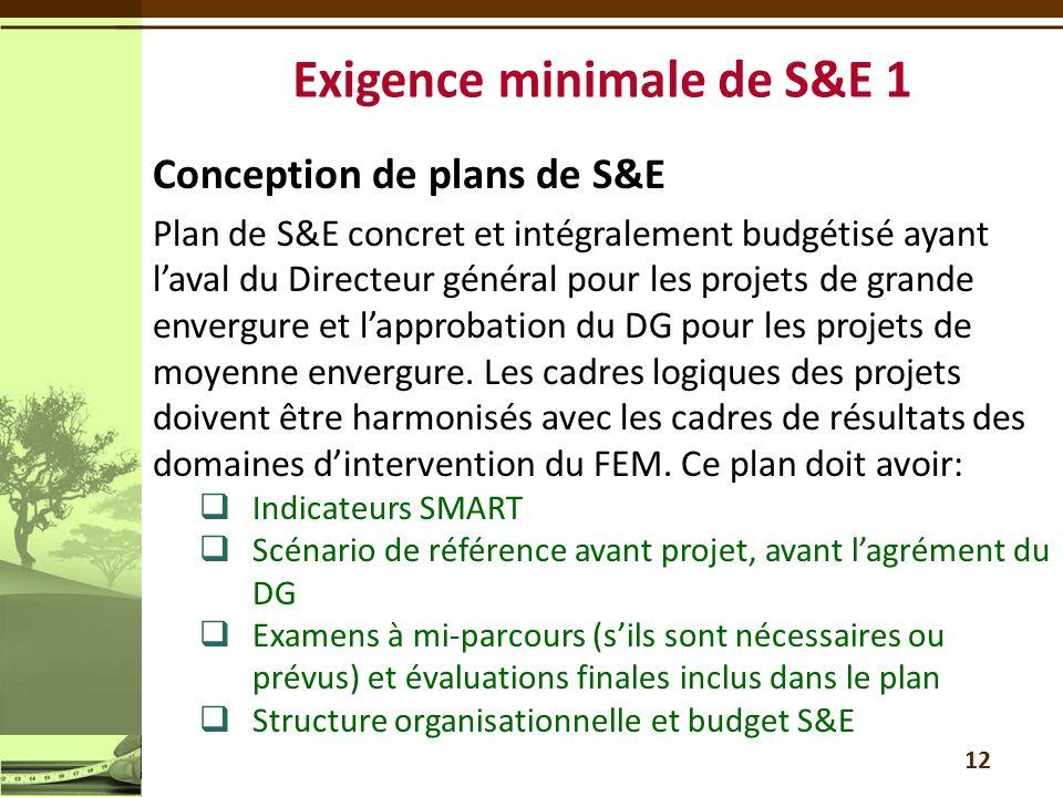 Conception de plans de S&E Plan de S&E concret et intégralement budgétisé ayant laval du Directeur général pour les projets de grande envergure et lapprobation du DG pour les projets de moyenne envergure.