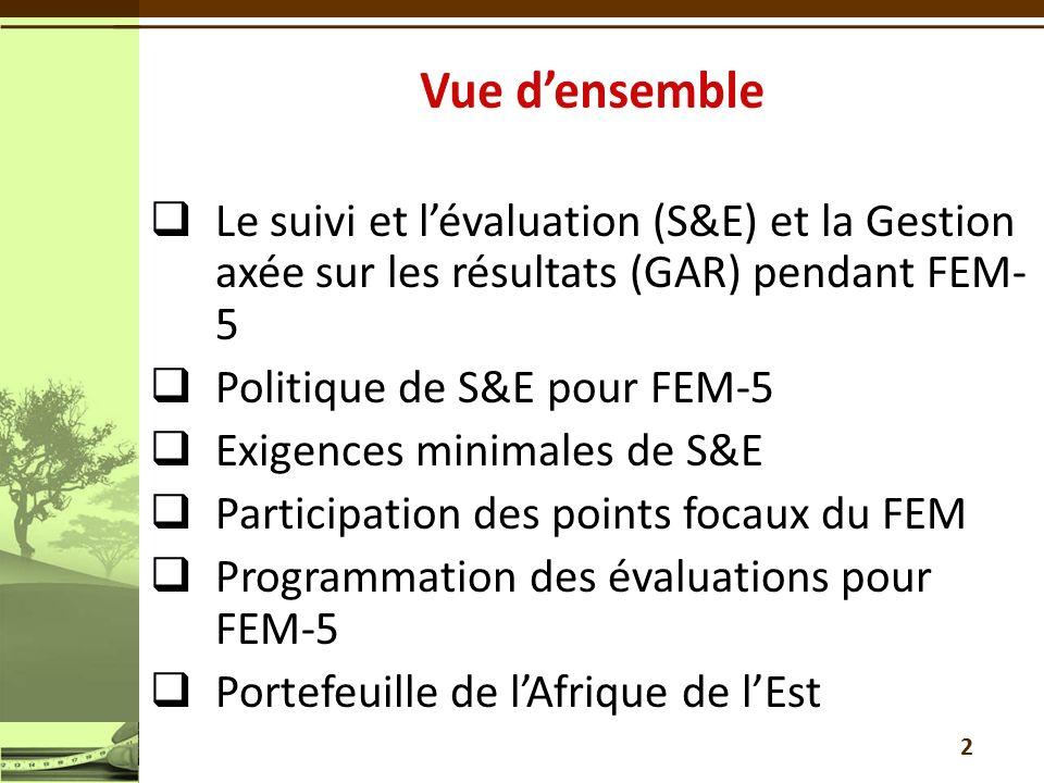 Le suivi et lévaluation (S&E) et la Gestion axée sur les résultats (GAR) pendant FEM- 5 Politique de S&E pour FEM-5 Exigences minimales de S&E Participation des points focaux du FEM Programmation des évaluations pour FEM-5 Portefeuille de lAfrique de lEst 2