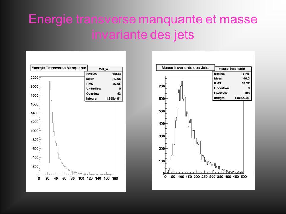 Energie transverse manquante et masse invariante des jets