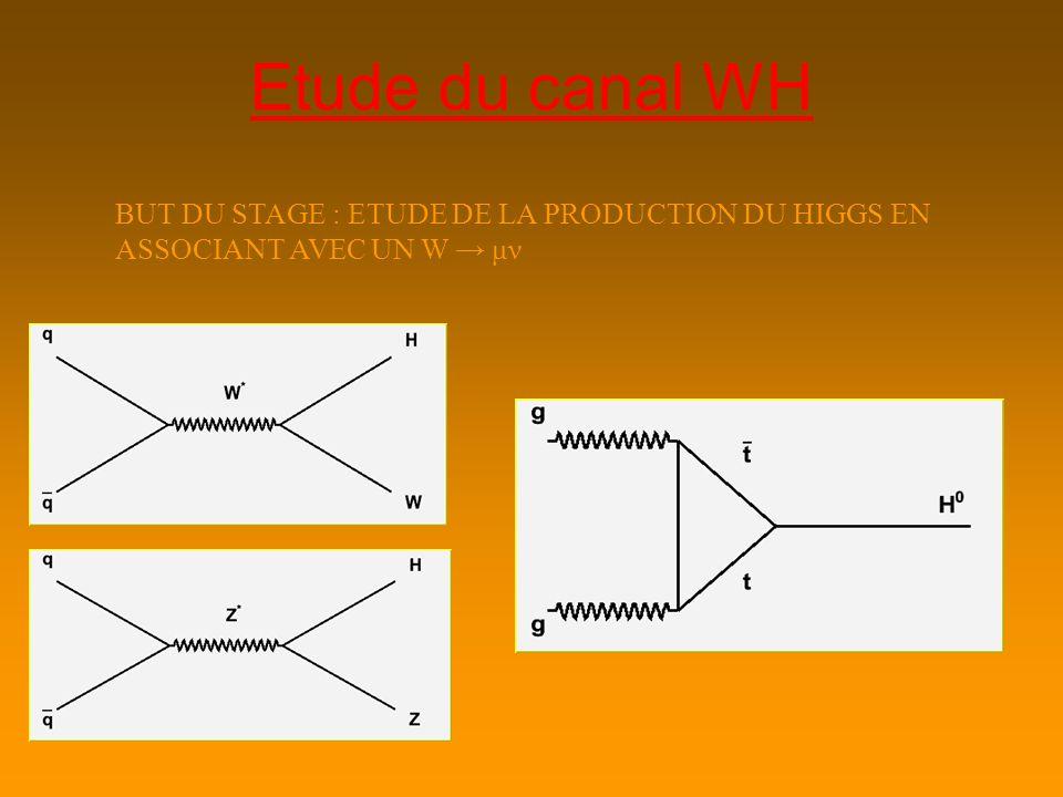 Etude du canal WH BUT DU STAGE : ETUDE DE LA PRODUCTION DU HIGGS EN ASSOCIANT AVEC UN W μν