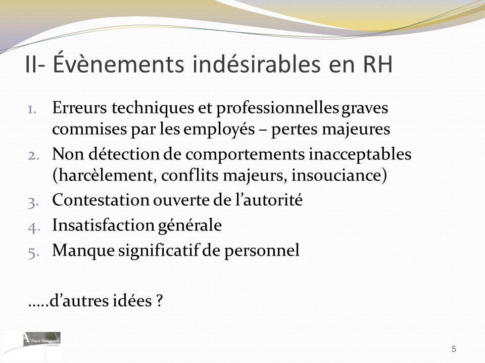 II- Évènements indésirables en RH 1. Erreurs techniques et professionnelles graves commises par les employés – pertes majeures 2. Non détection de com