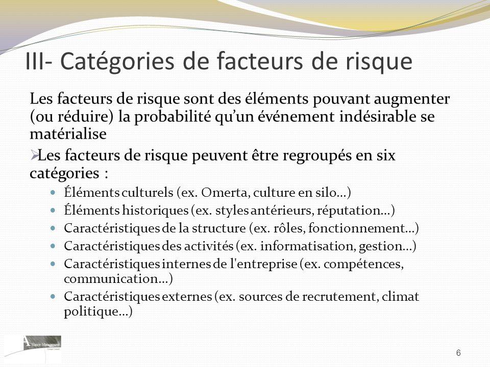 III- Catégories de facteurs de risque Les facteurs de risque sont des éléments pouvant augmenter (ou réduire) la probabilité quun événement indésirabl