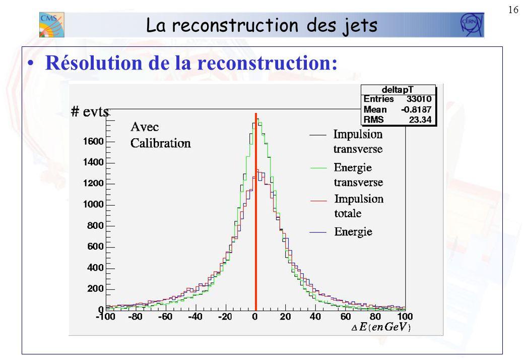 15 La reconstruction des jets Nécessité dappliquer une correction à lénergie des jets reconstruits. Cette correction est du type: