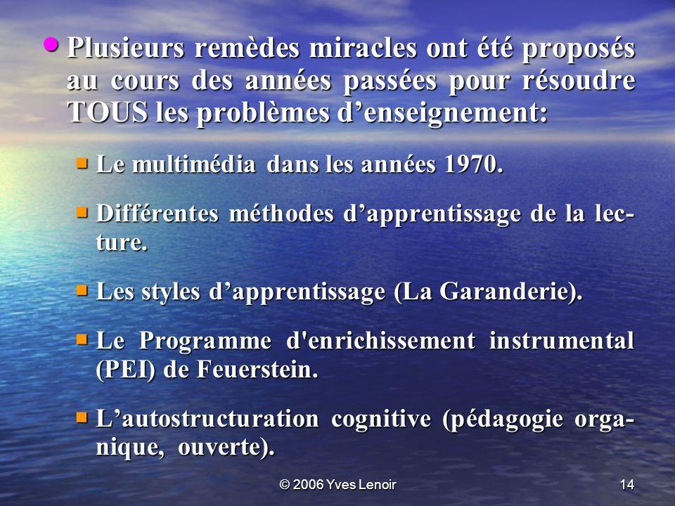 © 2006 Yves Lenoir14 Plusieurs remèdes miracles ont été proposés au cours des années passées pour résoudre TOUS les problèmes denseignement: Plusieurs remèdes miracles ont été proposés au cours des années passées pour résoudre TOUS les problèmes denseignement: Le multimédia dans les années 1970.