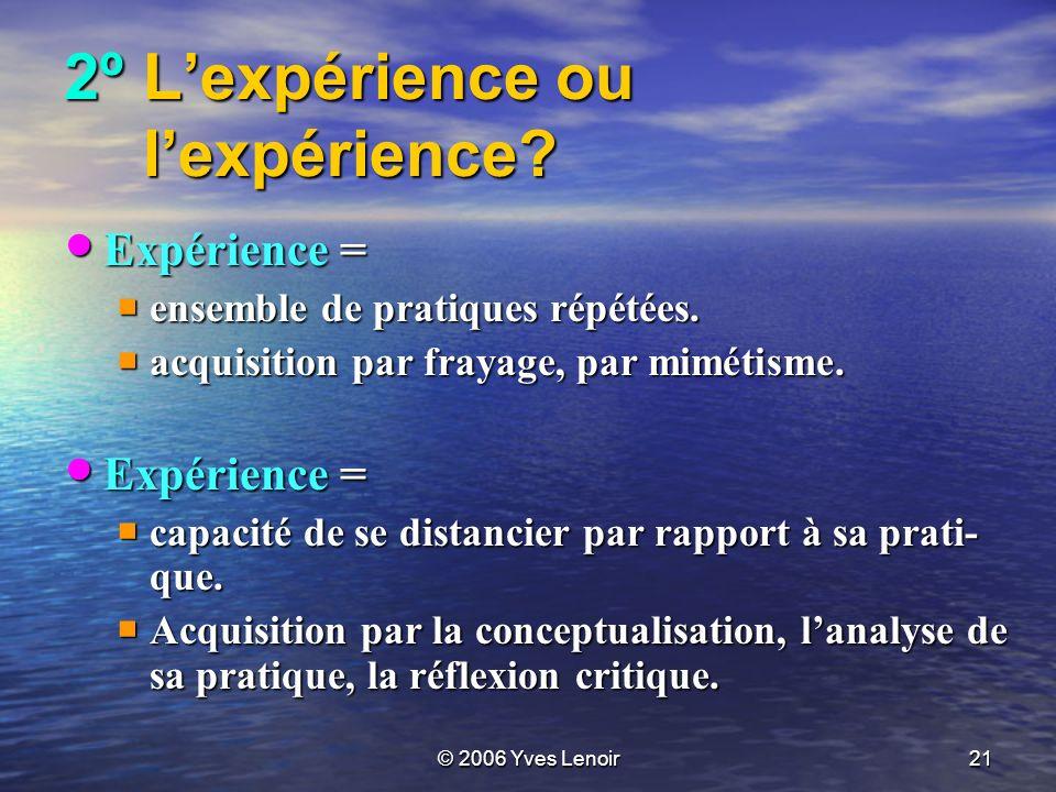 © 2006 Yves Lenoir21 2ºLexpérience ou lexpérience.