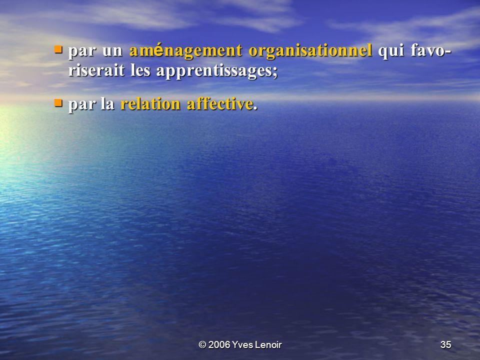 © 2006 Yves Lenoir35 par un am é nagement organisationnel qui favo- riserait les apprentissages; par un am é nagement organisationnel qui favo- riserait les apprentissages; par la relation affective.