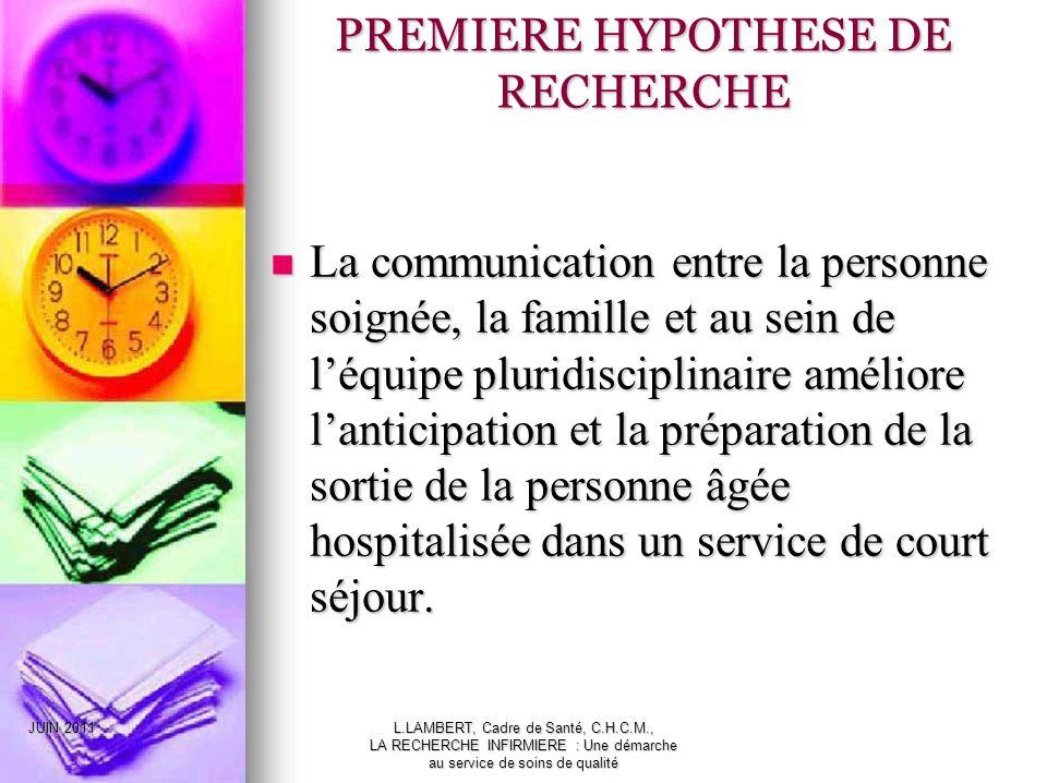 JUIN 2011L.LAMBERT, Cadre de Santé, C.H.C.M., LA RECHERCHE INFIRMIERE : Une démarche au service de soins de qualité La communication entre la personne