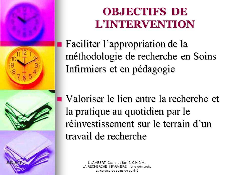 JUIN 2011L.LAMBERT, Cadre de Santé, C.H.C.M., LA RECHERCHE INFIRMIERE : Une démarche au service de soins de qualité OBJECTIFS DE LINTERVENTION Facilit