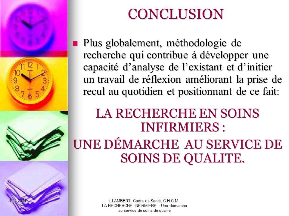 JUIN 2011L.LAMBERT, Cadre de Santé, C.H.C.M., LA RECHERCHE INFIRMIERE : Une démarche au service de soins de qualité CONCLUSION Plus globalement, métho