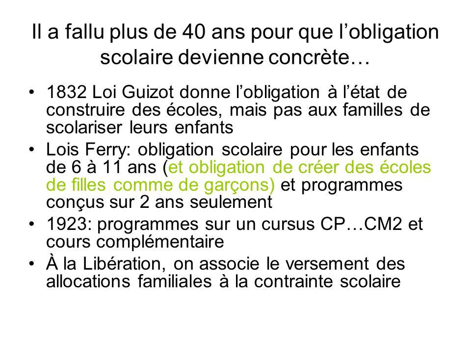 Il a fallu plus de 40 ans pour que lobligation scolaire devienne concrète… 1832 Loi Guizot donne lobligation à létat de construire des écoles, mais pa