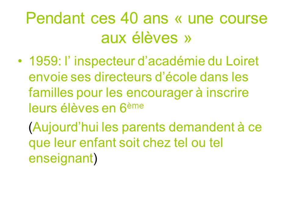 Pendant ces 40 ans « une course aux élèves » 1959: l inspecteur dacadémie du Loiret envoie ses directeurs décole dans les familles pour les encourager