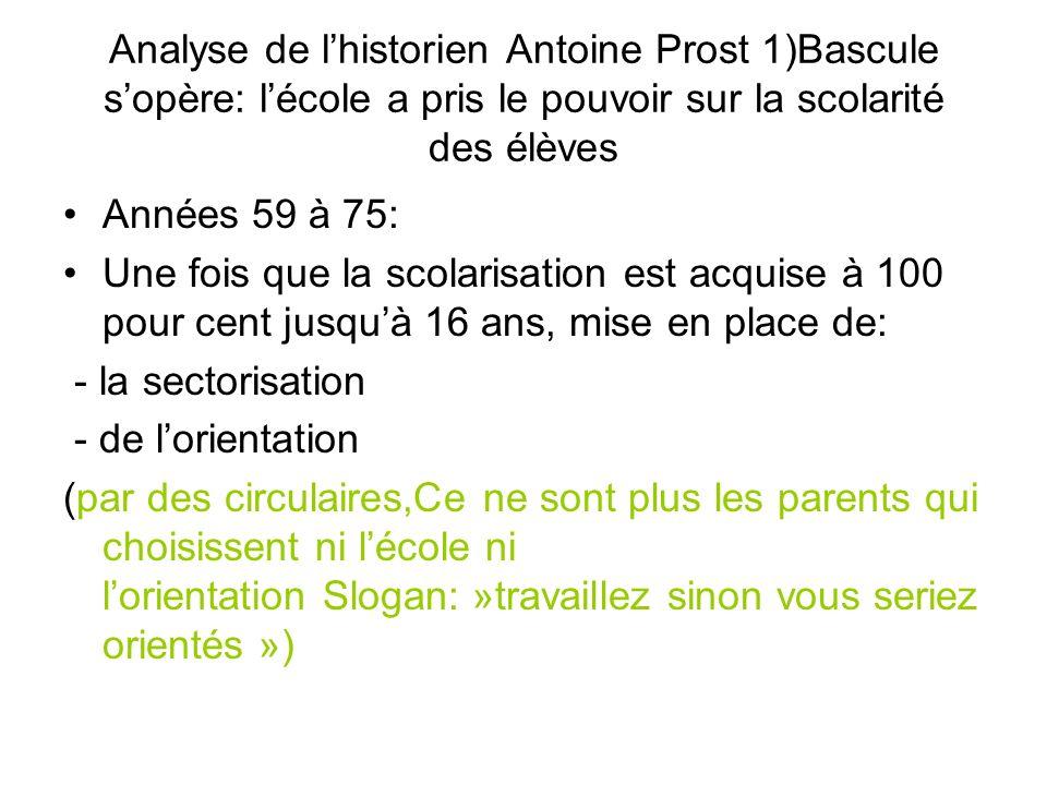 Analyse de lhistorien Antoine Prost 1)Bascule sopère: lécole a pris le pouvoir sur la scolarité des élèves Années 59 à 75: Une fois que la scolarisati