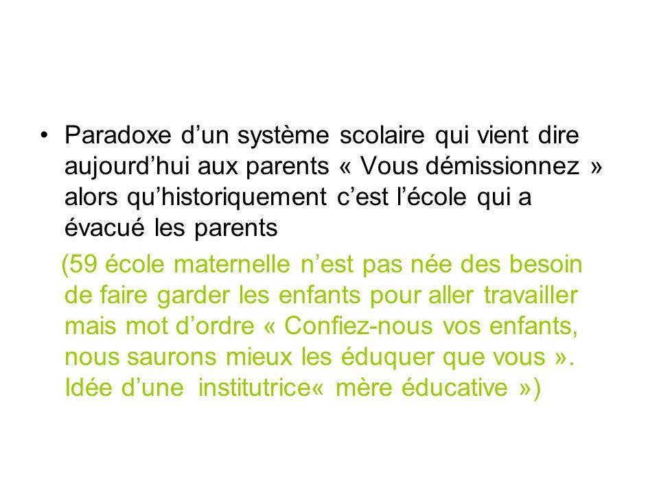 Paradoxe dun système scolaire qui vient dire aujourdhui aux parents « Vous démissionnez » alors quhistoriquement cest lécole qui a évacué les parents