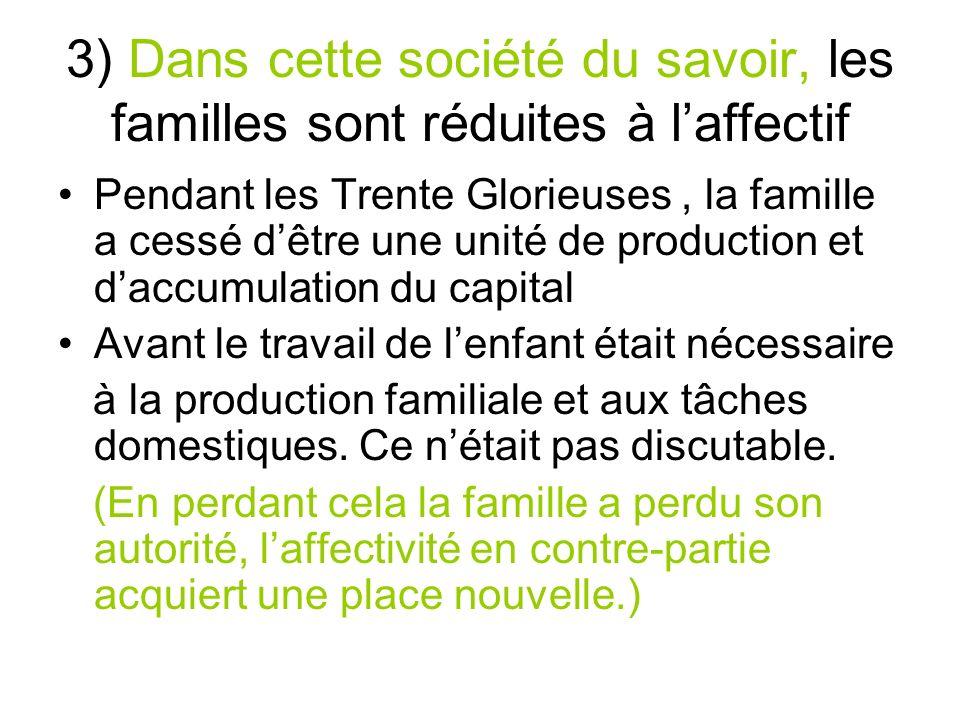 3) Dans cette société du savoir, les familles sont réduites à laffectif Pendant les Trente Glorieuses, la famille a cessé dêtre une unité de productio