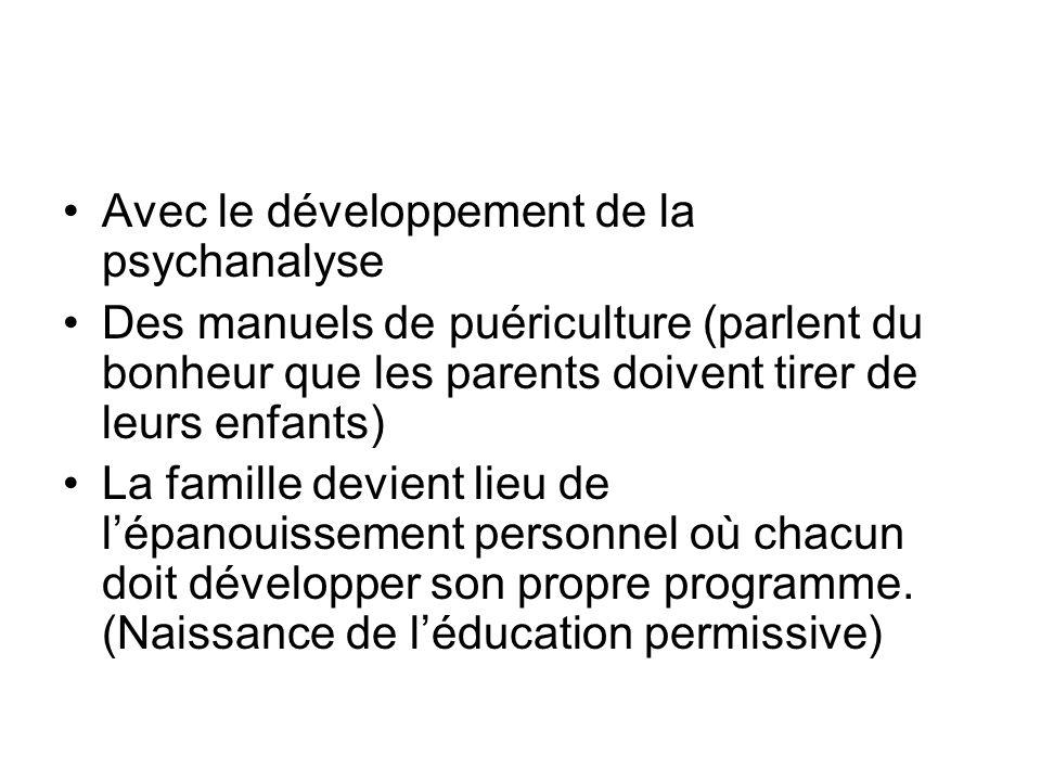 Avec le développement de la psychanalyse Des manuels de puériculture (parlent du bonheur que les parents doivent tirer de leurs enfants) La famille devient lieu de lépanouissement personnel où chacun doit développer son propre programme.