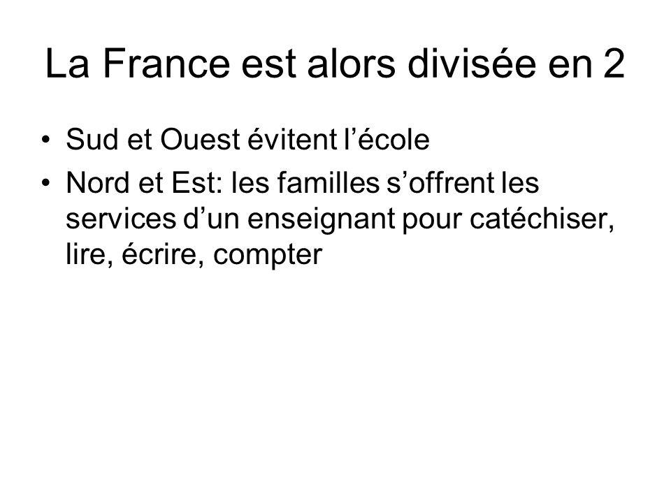 La France est alors divisée en 2 Sud et Ouest évitent lécole Nord et Est: les familles soffrent les services dun enseignant pour catéchiser, lire, écrire, compter