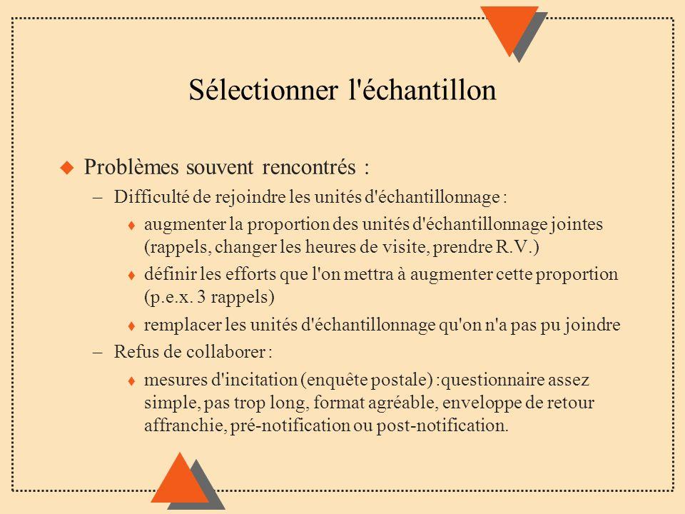 Sélectionner l'échantillon u Problèmes souvent rencontrés : –Difficulté de rejoindre les unités d'échantillonnage : t augmenter la proportion des unit