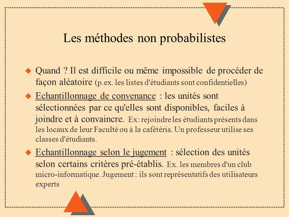 Les méthodes non probabilistes u Quand ? Il est difficile ou même impossible de procéder de façon aléatoire (p.ex. les listes d'étudiants sont confide