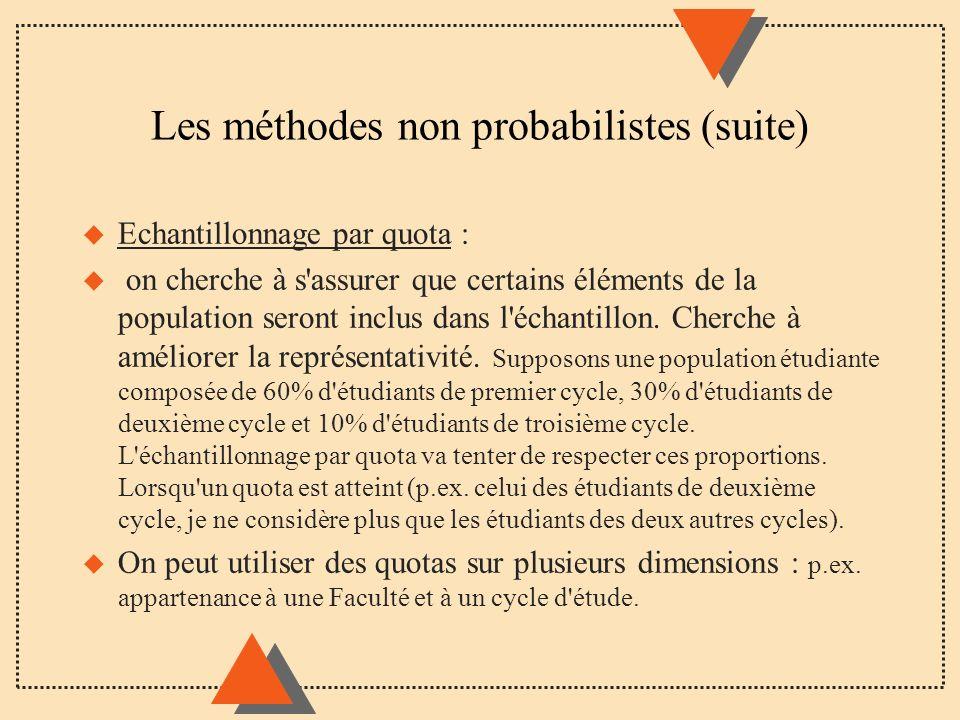 Les méthodes non probabilistes (suite) u Echantillonnage par quota : u on cherche à s'assurer que certains éléments de la population seront inclus dan