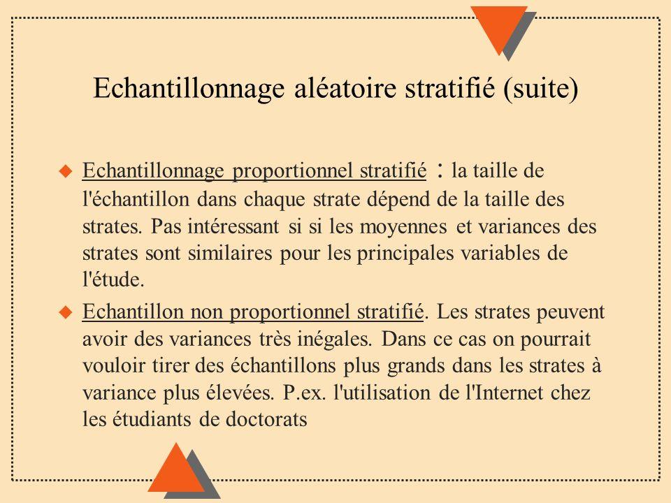 Echantillonnage aléatoire stratifié (suite) u Echantillonnage proportionnel stratifié : la taille de l'échantillon dans chaque strate dépend de la tai