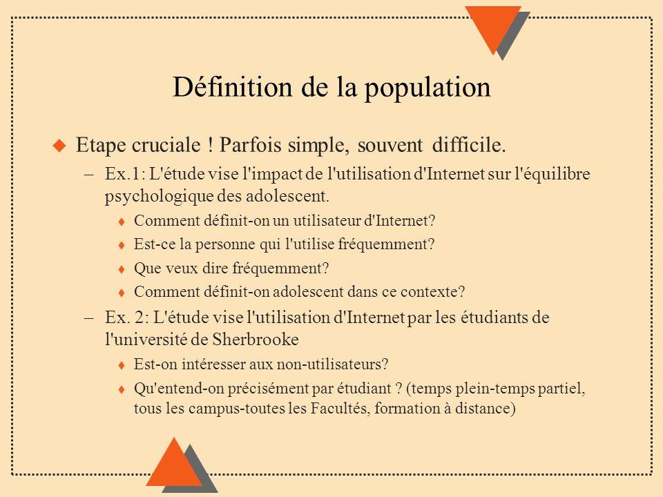 Définition de la population u Etape cruciale ! Parfois simple, souvent difficile. –Ex.1: L'étude vise l'impact de l'utilisation d'Internet sur l'équil