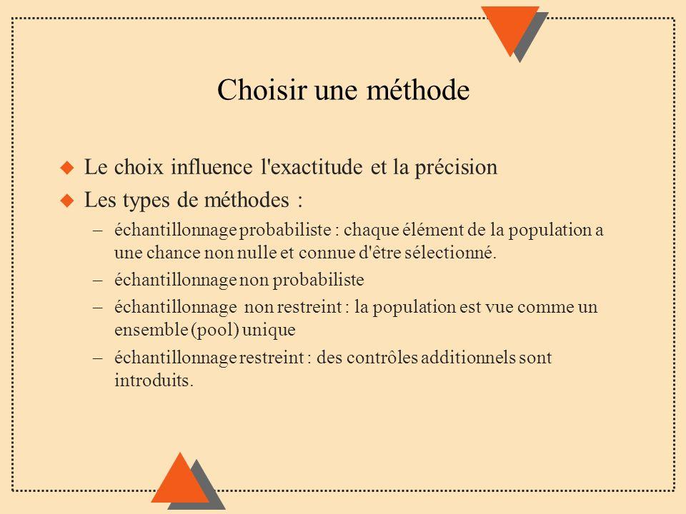 Choisir une méthode u Le choix influence l'exactitude et la précision u Les types de méthodes : –échantillonnage probabiliste : chaque élément de la p