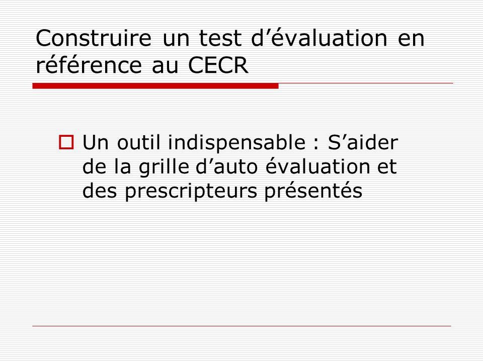 Construire un test dévaluation en référence au CECR Un outil indispensable : Saider de la grille dauto évaluation et des prescripteurs présentés