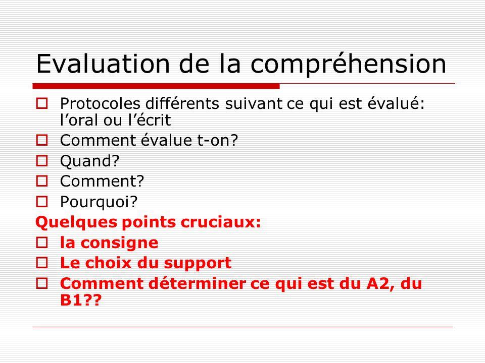 Evaluation de la compréhension Protocoles différents suivant ce qui est évalué: loral ou lécrit Comment évalue t-on.