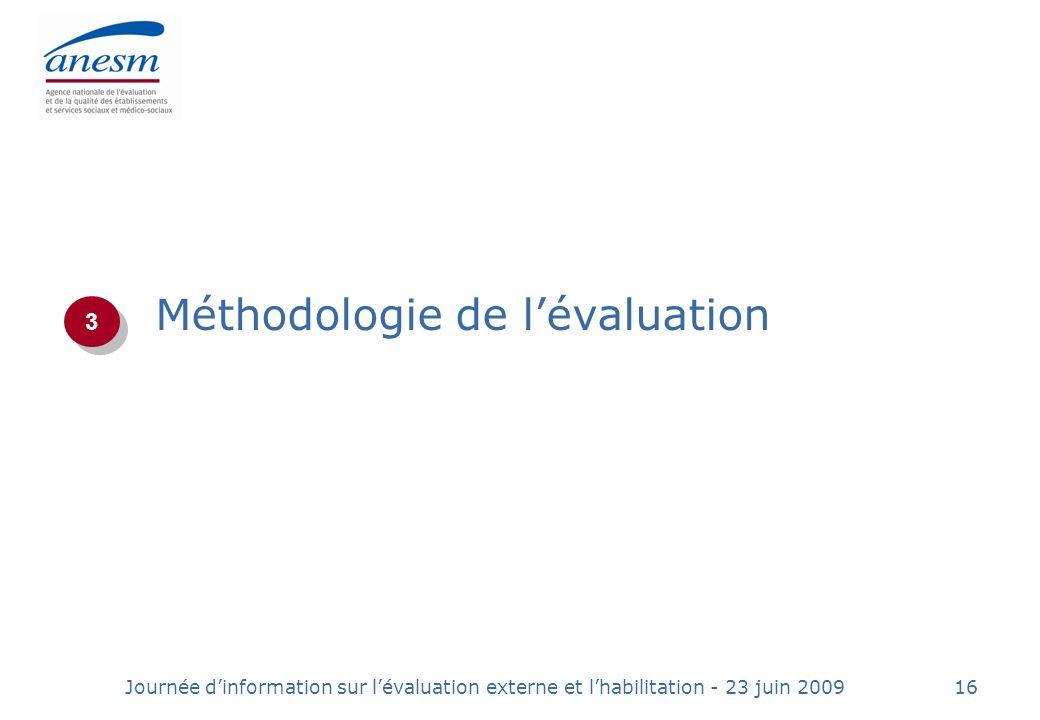 Journée dinformation sur lévaluation externe et lhabilitation - 23 juin 200916 Méthodologie de lévaluation 3 3