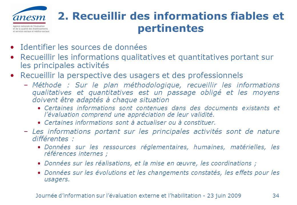 Journée dinformation sur lévaluation externe et lhabilitation - 23 juin 200934 2.