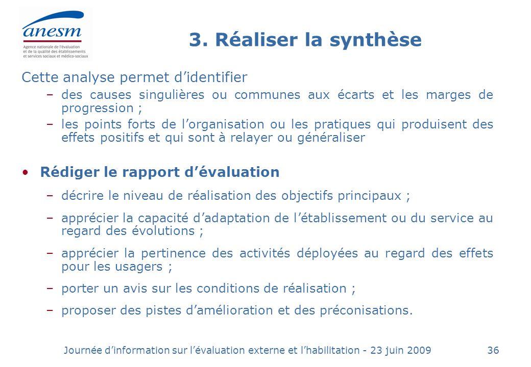Journée dinformation sur lévaluation externe et lhabilitation - 23 juin 200936 3.